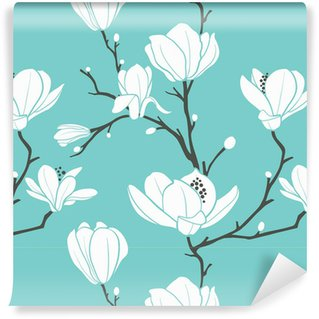 Vinyl Wallpaper blue magnolia pattern