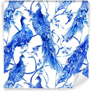 Pixerstick Wallpaper Blue watercolor flower vintage seamless pattern with peacocks