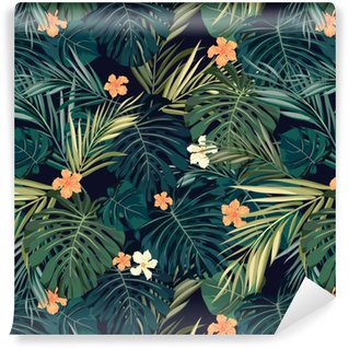 Bright colorful tropical seamless background with leaves and Vinyl Wallpaper