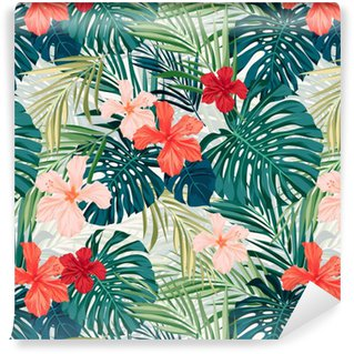 Pixerstick Wallpaper Bright colorful tropical seamless background with leaves and