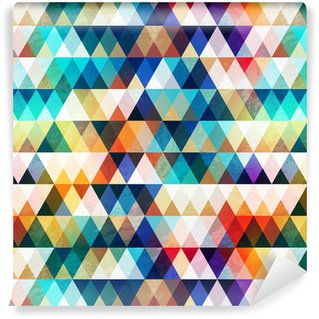 bright triangle seamless pattern with grunge effect Vinyl Wallpaper