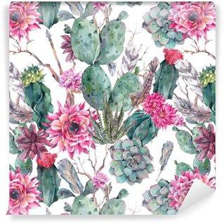Cactus watercolor seamless pattern in boho style. Vinyl Wallpaper