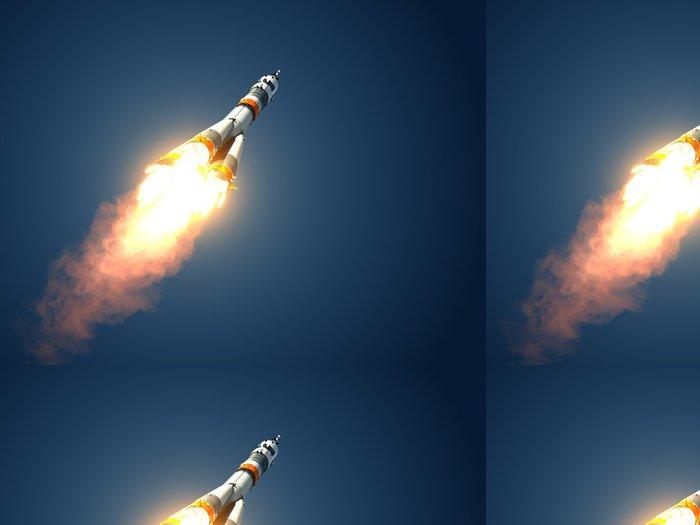 "Vinyl Wallpaper Carrier Rocket ""Soyuz-FG"" Takes Off - Outer Space"