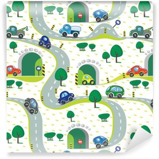 Vinyl Wallpaper Cars on the road. Seamless pattern.