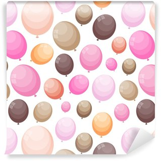 Color Glossy Balloons Seamles Pattern Background Vector Illustra Vinyl Wallpaper