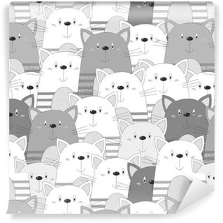 Cute cats colorful seamless pattern background Vinyl Wallpaper