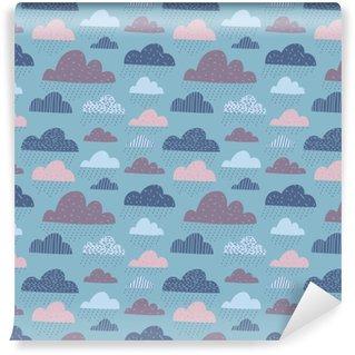 Vinyl Wallpaper Cute funny clouds seamless pattern