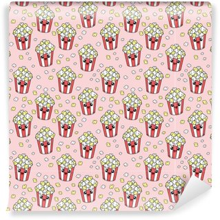 Cute kids pattern for girls and boys. Colorful pop corn on the abstract grunge background create a fun cartoon drawing.The background is made in neon colors. Urban backdrop for textile and fabric. Vinyl Wallpaper