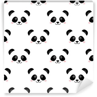 Vinyl Wallpaper Cute panda face. Seamless wallpaper