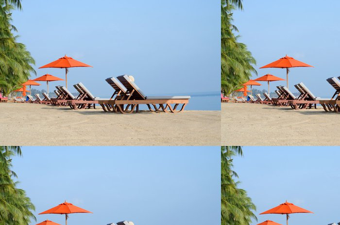 Vinyl Wallpaper Deckchairs on the shore - Islands