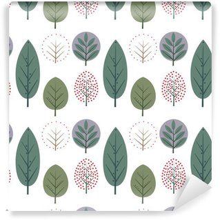 Decorative leaves seamless pattern. Cute nature background with trees. Scandinavian style forest vector illustration. Design for textile, wallpaper, fabric. Vinyl Wallpaper