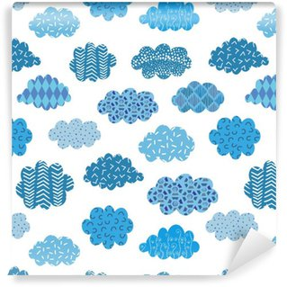Doodle blue clouds seamless pattern. Vector background with abstract patterned clouds on white. Vinyl Wallpaper