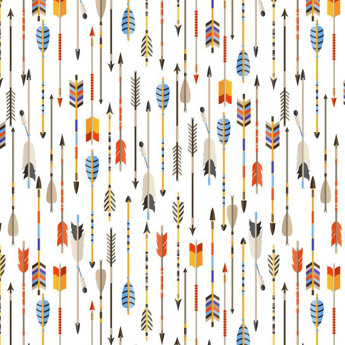 Pixerstick Wallpaper Ethnic seamless pattern with indian arrows in native style - Travel
