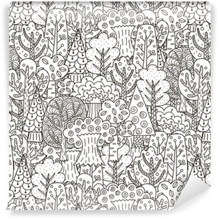 Vinyl Wallpaper Fantasy forest seamless pattern. Black and white trees background