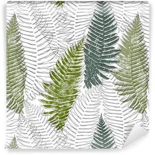 Vinyl Wallpaper Fern seamless background.