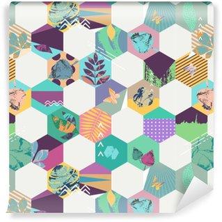 Floral seamless geometric background Vinyl Wallpaper