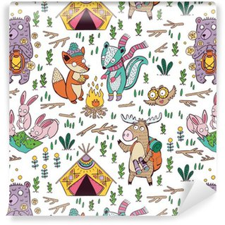 Vinyl Wallpaper Hand drawn camping seamless pattern with cartoon characters