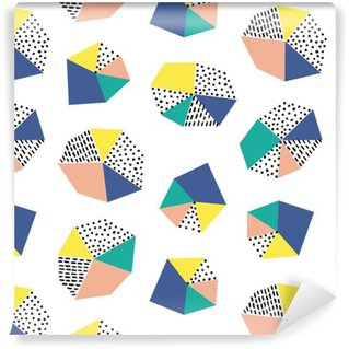 Hand drawn seamless pattern with brush strokes and geometric figure. Vinyl Wallpaper