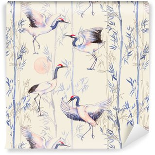 Pixerstick Wallpaper Hand-drawn watercolor seamless pattern with white Japanese dancing cranes. Repeated background with delicate birds and bamboo