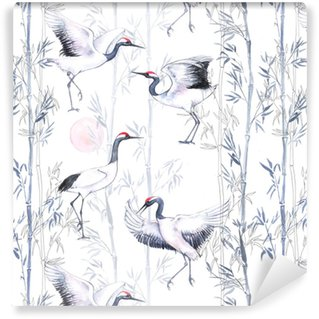 Hand-drawn watercolor seamless pattern with white Japanese dancing cranes. Repeated background with delicate birds and bamboo Vinyl Wallpaper