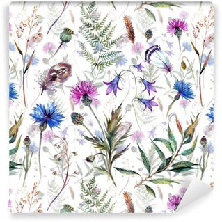 Hand drawn watercolor wildflowers Vinyl Wallpaper
