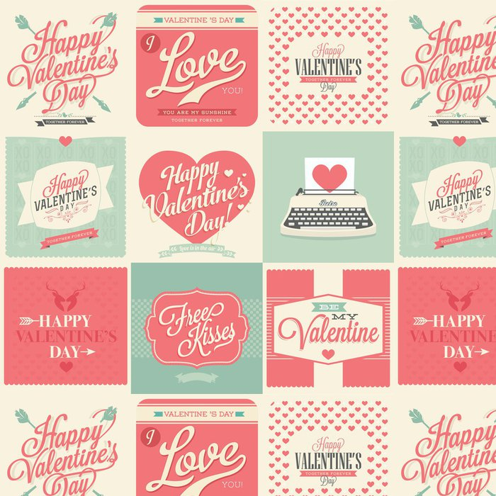Vinyl Wallpaper happy valentines day vintage retro cards - Backgrounds