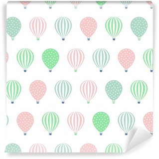Hot air balloon seamless pattern. Baby shower vector illustrations isolated on white background. Polka dots and stripes. Pastel colors hot air balloons design. Vinyl Wallpaper