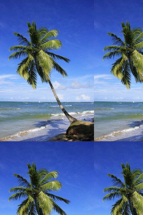 Vinyl Wallpaper Leaning palm tree at Las Terrenas beach, Samana peninsula - America