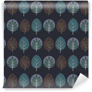 Vinyl Wallpaper Leaves seamless pattern. Decorative nature background with trees. Scandinavian style autumn forest vector illustration. Design for textile, wallpaper, fabric.