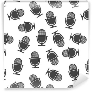 Microphone seamless pattern. Business concept microphone pictogram. Vector illustration on white background. Vinyl Wallpaper