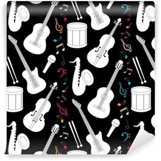 Musical seamless pattern with instruments Vinyl Wallpaper