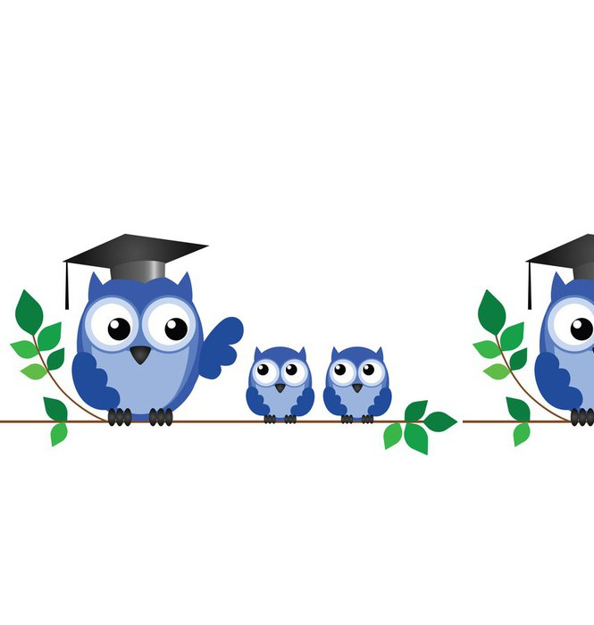 Vinyl Wallpaper Owl teacher and pupils sat on a tree branch - Education