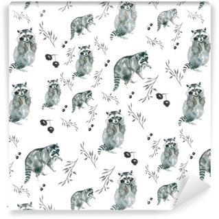 Vinyl Wallpaper pattern raccoons. Raccoons and small branches, berries. Watercolor