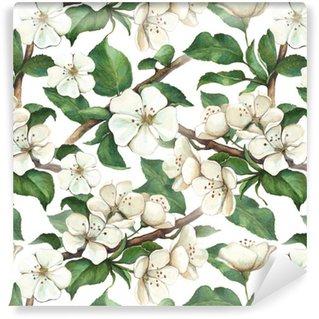 Pattern with watercolor apple flowers Vinyl Wallpaper