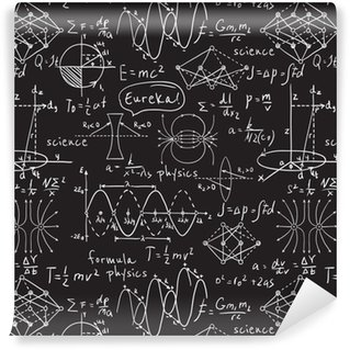 Pixerstick Wallpaper Physical formulas, graphics and scientific calculations on chalkboard. Vintage hand drawn illustration laboratory seamless pattern
