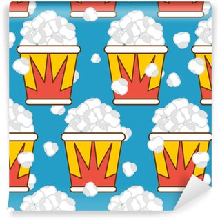 Popcorn seamless pattern. Food background. Feed texture Vinyl Wallpaper