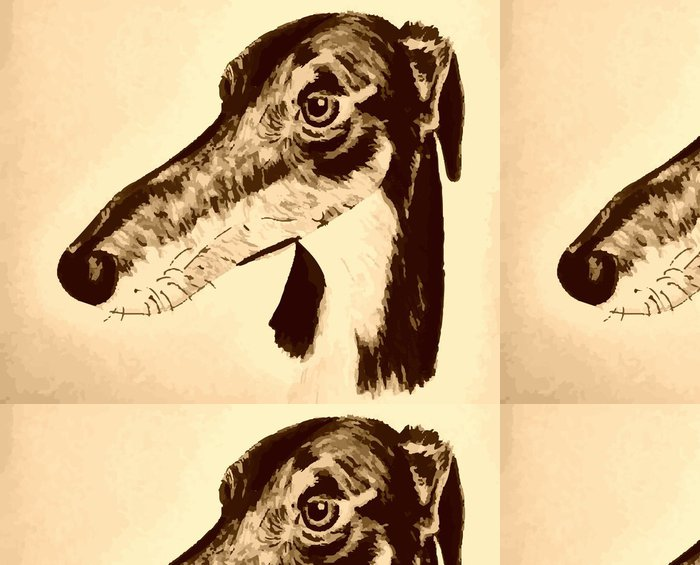 Vinyl Wallpaper Quirky hand-drawn lurcher original artwork - Sadness