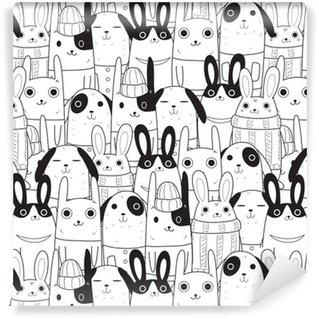Vinyl Wallpaper rabbit seamless pattern