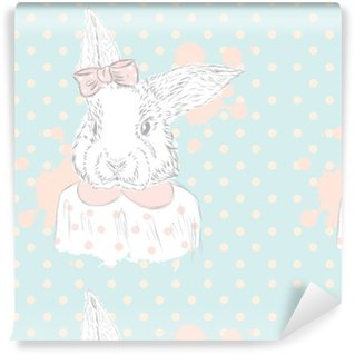 Vinyl Wallpaper Rabbit vector . Hand drawing of the animal. Print . Hipster. Watercolor Bunny . Vintage postcard.