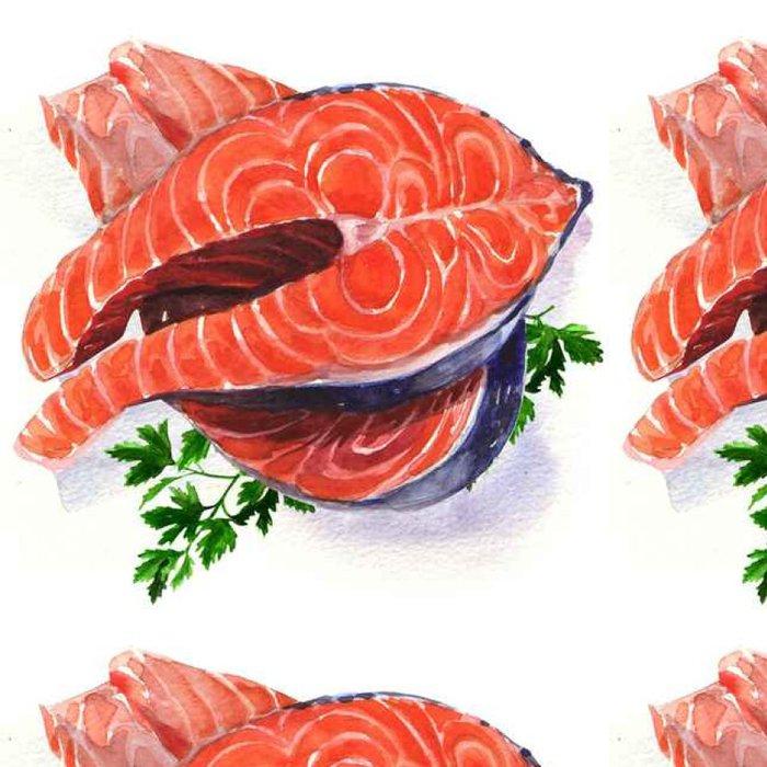 Vinyl Wallpaper Salmon steak red fish - Business