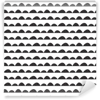 Pixerstick Wallpaper Scandinavian seamless black and white pattern in hand drawn style. Stylized hill rows. Wave simple pattern for fabric, textile and baby linen.