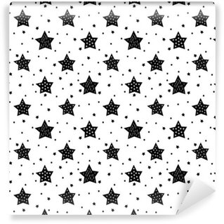 Pixerstick Wallpaper Seamless black and white pattern with cute stars for kids. Baby shower vector background. Child drawing style xmas pattern.