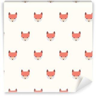 seamless cute fox pattern Vinyl Wallpaper