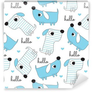 Pixerstick Wallpaper seamless dog pattern vector illustration
