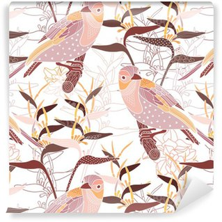 Vinyl Wallpaper Seamless floral pattern with birds