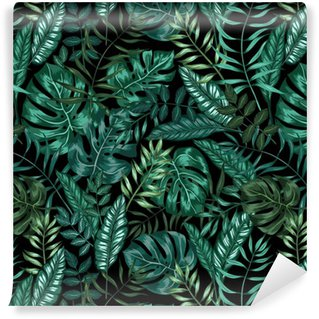 seamless graphical artistic tropical nature jungle pattern, modern stylish foliage background allover print with split leaf, philodendron, palm leaf, fern frond Vinyl Wallpaper