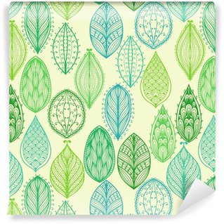 Seamless hand drawn vintage pattern with green ornate leaves Vinyl Wallpaper