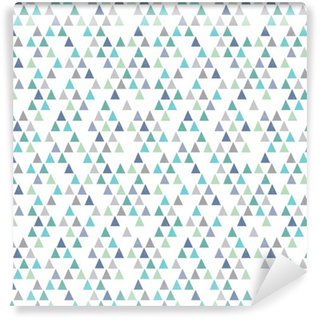 Vinyl Wallpaper seamless hipster geometric pattern triangles aqua blue