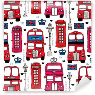 Seamless love London UK red travel icon background pattern Vinyl Wallpaper