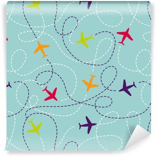 Seamless pattern with airplanes. Vector background with colorful planes. Travel around the world concept. Illustration can be used for wallpaper, backgrounds, web page design, kids textile. Vinyl Wallpaper